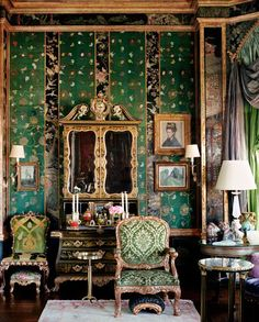 Eclectic decor:  If I were to go with one color only, it would be green (beautiful shades here)