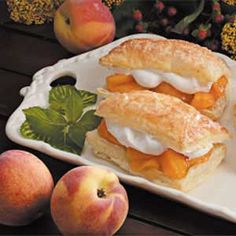 Peach-Filled Pastries Recipe -When your family has a taste for pie but time is ticking away, make this fast and fruity dessert. For a tasty twist, use cherry pie filling instead.