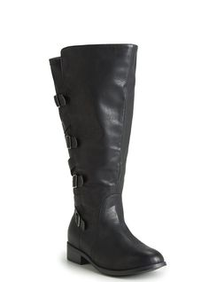 Faux Leather and Scuba Strappy Knee Boots (Wide Width and Wide Calf) *** Check out the image by visiting the link.