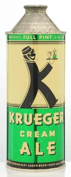 1022: Krueger Cream Ale Pint Cone Top Beer Can. : Lot 1022