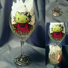 Painted wine glass. Hello Kitty zombie.