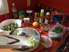 Brussels sprout salad using the Mandolin slicer.