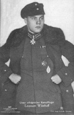 Leutnant Kurt Wüsthoff (27 January 1897 - 23 July 1926) was a German fighter pilot credited with 27 victories during World War I. He was the second youngest winner of Germany's highest decoration for valor, the Pour le Merite or Blue Max. Wüsthoff was seriously wounded in both legs, taken prisoner, and treated in various French hospitals. He complained bitterly about the adequacy of his treatment.