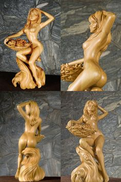 Nude Woman #Wood #Carving #Sculpture