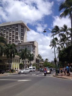 Kalakaua ave, the main avenue in Waikiki