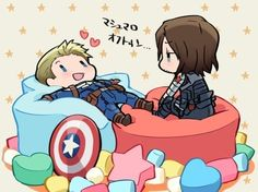 Little Bucky and Steve on marshmallows!