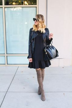 Little Blonde Book by Taylor Morgan | A Life and Style Blog : Drop Waist Dress & Leather Moto Jacket