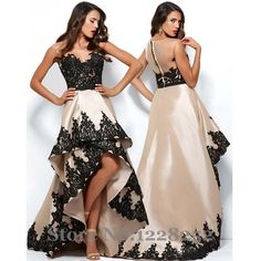 >> Click to Buy << Elegant High Low Prom Dresses Illusion Bateau Neck Covered Button Back Champagne Satin Black Lace Appliques Prom Gowns #Affiliate