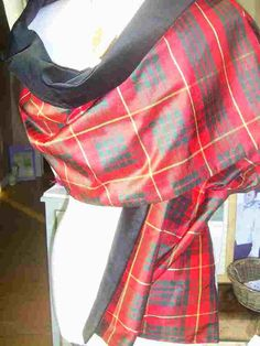 Reversible Evening Wrap in Black Velvet/Cameron Tartan, designed and so very popular , in Scotland, and USA.