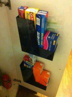 Magazine Holder - store plastic wrap, aluminum foil, plastic bags, etc. behind pantry door