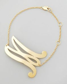 Swirly Initial Bracelet by Jennifer Zeuner at Neiman Marcus.