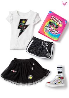 Shop justice's new arrivals for girls' clothing in the latest styles! Kids Outfits Girls, Cute Girl Outfits, Girls Fashion Clothes, Tween Fashion, Dance Outfits, Fall Outfits, Summer Outfits, Fashion Outfits, Justice Clothing