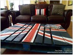 Repurposed Pallet coffee table with Union Jack http://www.myhomerocks.com/2012/03/repurposed-pallet-furniture/