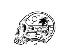 Saved by Koning Stuff (koning). Discover more of the best Illustration, Die--Rama, Jamie, and Browne inspiration on Designspiration Tattoo Drawings, Tattoos, Art Drawings, Illustrations, Illustration Art, Flash Art, Skull And Bones, Skull Art, Tattoo Inspiration