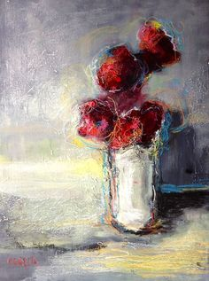 """Flowers in a White Vase Original Oil and Oil Pastel Painting - Snow Baby - 18"""" x 24"""" Abstract Flowers"""