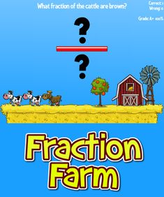 Our newest game, Fraction Farm, has children looking critically at parts of a group. This game also accepts fraction equivalents. Fraction Games For Kids, Online Games For Kids, Educational Games For Kids, Math Fractions, Math Math, Multiplication, Maths, Framed Words, Math Graphic Organizers