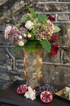 Pink hydrangea wedding centerpiece | Amberlee Christey Photography