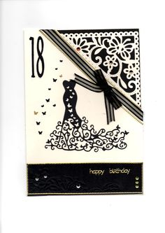 Tattered lace red carpet dress in black. The corner is cut with a spellbinders die backed with black card, the bottom section is embossed using a tim holtz folder. Card by Sue Elvin 18th Birthday Cards, Birthday Cards For Women, Tonic Cards, Tattered Lace Cards, Studio Cards, Dress Card, Black Card, Embossed Cards, Beautiful Handmade Cards