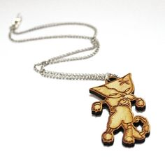 Zombie Cat Necklace   wood laser cut  hand drawn by ShopMissElla, £10.00