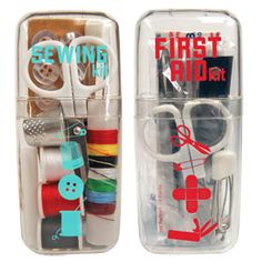 Be prepared for any minor medical or fashion emergency with the Mini First Aid Kit and Mini Sewing Kit from The Container Store.