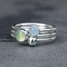 Waterlelie Stacking Rings Sterling Silver Gemstone door KiraFerrer