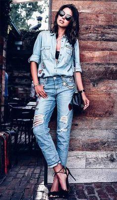 Street style look com camisa jeans. Mais