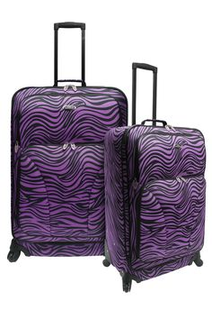 I'm learning all about Traveler's Choice Fashion 2 Piece Spinner Luggage Set Color: Purple Zebra at Purple Zebra, Purple Love, All Things Purple, Shades Of Purple, Purple Stuff, Hard Sided Luggage, Choice Fashion, Cool Sunglasses, Purple Reign