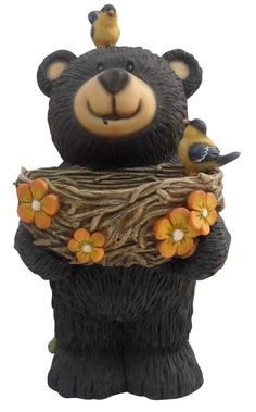 Bear Statue with Birdfeeder. Add color, spice and life to your outdoors with this adorable bear statuary. Each has its own playful personality and is sure to bring a fanciful feel to any yard, garden or deck. Art D'ours, Black Bear Decor, Bear Statue, Cast Stone, Love Bear, Big Bear, All Birds, Bear Art, Garden Statues
