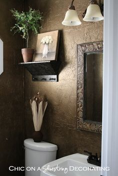 Wall Covering Ideas for Bathroom New Tissue Paper Wall Treatment Powder Room In 2019 Home Design, Design Design, Layout Design, Tuscan Design, Tuscan Style, Tuscan Decorating, Decorating Ideas, Decor Ideas, Mediterranean Home Decor