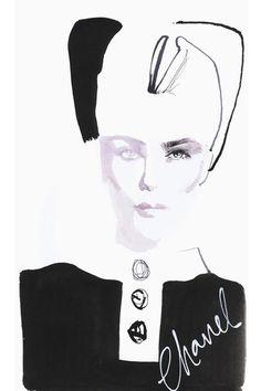 Les canotiers Chanel Haute Couture Automne-Hiver 2013-2014 par David Downton