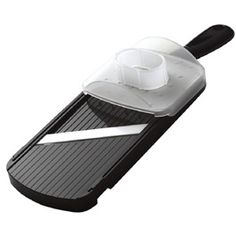 """Kyocera Adjustable Ceramic Slicer """"no set-up"""" mandoline slicer produces perfect slices 4 different widths: 0.5 mm, 1.3 mm, 2.0 mm & 3.0 mm. Easy to use: turn dial for paper thin, medium, thick & very thick slices. No blades to switch. Ultra sharp - won't rust or brown foods. Included hand guard holds food securely & protects fingers. Corner notches to fit slicer on top of most bowls. Ideal for everyday use. Easy to clean & dishwasher safe"""
