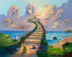 All Dogs Go to Heaven 1 All Dogs Go to Heaven Authentic Giclee print hand signed by Jim Warren. Part of All dogs series. Pet Loss Grief, Dog Heaven, Heaven Art, Heaven Painting, Earth Design, Stairway To Heaven, Over The Rainbow, Animals Beautiful, Pretty Animals