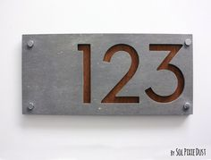 Modern House Numbers, Rectangle Concrete with Marine Plywood - Contemporary Home Address - Sign Plaque - Door Number by SolPixieDust on Etsy https://www.etsy.com/uk/listing/238388395/modern-house-numbers-rectangle-concrete