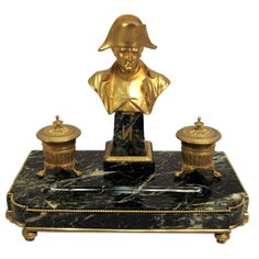 19th Century Bronze Dore  Napolean Ink Well, France. | From a unique collection of antique and modern inkwells at https://www.1stdibs.com/furniture/more-furniture-collectibles/inkwells/