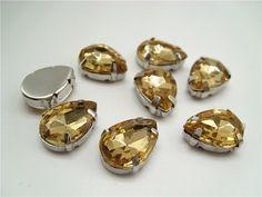 Mixed sew on rhinestone beads (gold) 16pcs