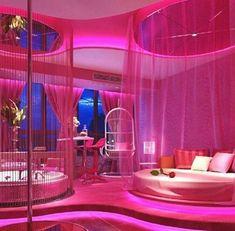 Dream Rooms Pink - Decoration Home Cute Bedroom Ideas, Cute Room Decor, Girl Bedroom Designs, Awesome Bedrooms, Cool Rooms, Neon Bedroom, Girls Bedroom, Bedroom Decor, Hot Pink Bedrooms