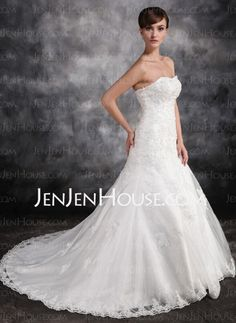 Wedding Dresses - $216.69 - Mermaid Sweetheart Court Train Organza Satin Wedding Dress With Lace Beadwork (002016902) http://jenjenhouse.com/Mermaid-Sweetheart-Court-Train-Organza-Satin-Wedding-Dress-With-Lace-Beadwork-002016902-g16902