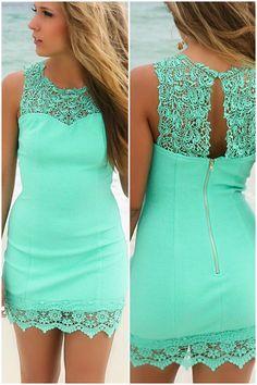 Bellaire Mint Lace Detail Bodycon Cocktail Dress