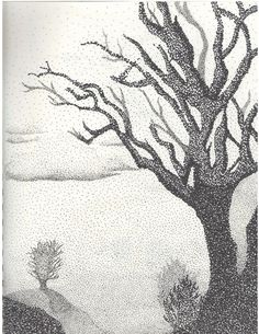 pointillism black and white tree - Google Search
