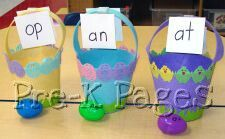 easter word family eggs - put a slip of paper with the word or picture in the egg to be sorted by family