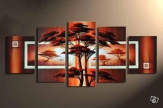 Trees, artwork for room decoration - Direct Art Australia. Price: $389.00,  Shipping: Free Shipping,  Size of Parts: 35cm x 50cm x 2 panels + 35cm x 70cm x 2 panels + 35cm x 80cm x 1 panel,  Total Size (W x H): 175cm x 80cm,  Delivery: 21 - 28 Days,  Framing: Framed (Gallery Wrap & Ready to Hang!).  Handpainted: 100% Hand Painted on Canvas.  Guarantee: 30 Day Money Back Guarantee.  http://www.directartaustralia.com.au/