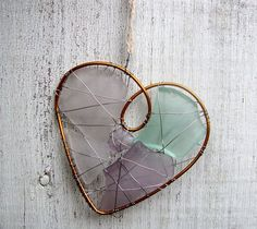 Purple and Sky Blue Seaglass Heart Suncatcher by jetsamdesigns