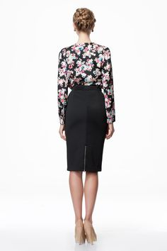 Very modest and lovely in high waist navy pencil skirt with floral blouse