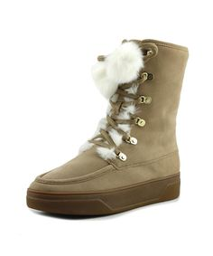 MICHAEL MICHAEL KORS Michael Michael Kors Juno Lace Up Women  Round Toe Suede Tan Winter Boot. #michaelmichaelkors #shoes # Snow Boots Women, Winter Snow Boots, Lace Up Heels, Lace Up Boots, Stylish Boots For Women, Cold Weather Boots, Shearling Boots, Dark Khaki, Mid Calf Boots