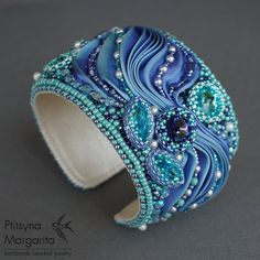 Cuff bracelet with shibori ribbon and Swarovski crystals, bead embroidery bracelet, blue . Cuff bracelet with shibori ribbon and . Ribbon Jewelry, Soutache Jewelry, Beaded Jewelry, Beaded Bracelets, Pearl Necklaces, Jewellery, Gothic Jewelry, Leather Jewelry, Handmade Bracelets