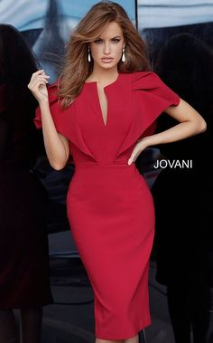 Jovani 00759 Form Fitting Bellow the Knee Dress - Short Dresses - Jovani 00759 Form Fitting Bellow the Knee Dress - Evening Dresses - Jovani 00759 Form Fitting Bellow the Knee Dress - Party Dresses - Jovani 00759 Form Fitting Bellow the Knee Dress - Jovan Elegant Dresses For Women, Simple Dresses, Casual Dresses, Short Sleeve Dresses, Formal Dresses, Elegant Dresses Classy, Elegant Clothing, Party Dresses For Women, Women's Casual