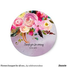 #Flowersbouquet #flowers #floral #watercolor for all occassions. Available in different products: invitation, business card, #stickers etc. Check more at www.zazzle.com/celebrationideas