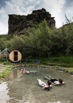 Sauna & Natural Pool at the Volcano Huts in Thorsmork, Iceland