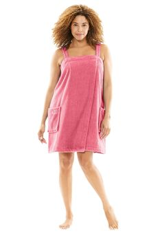Dreams & Co. Women's Plus Size Wearable Towel: It's a robe and towel in one, allowing hands-free wear as you step out of the shower or bath. Shoulder straps Elastic at halter-type top Pockets length Plush woven cotton terry, machine wash, imported Plus Size Robes, Plus Size Sleepwear, Plus Size Dresses, Dresses For Sale, Plus Size Outfits, Towel Dress, Plus Size Work, Hourglass Fashion, Towel Wrap