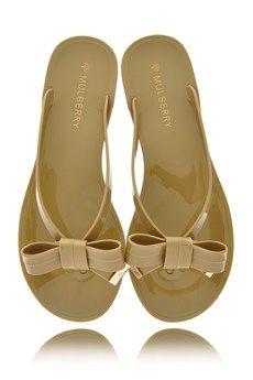 0604fdbdd72f5 MULBERRY BOW Summer Khaki Jelly Sandals